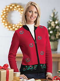 Holiday Wreath Cardigan