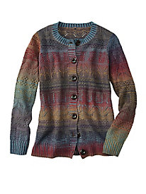 Pointelle-Stitch Ombre Cardigan by Koret