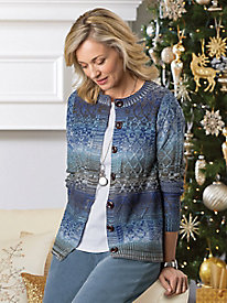 Diamond-Stitch Ombre Cardigan by Koret