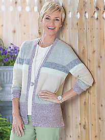 Colorblock V-Neck Open Cardigan