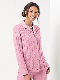 Gold button Cable Cardigan by Koret