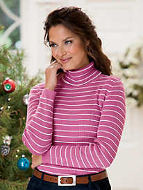 Striped Ribbed Cotton Turtleneck