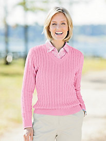 Classic Cable V-Neck Pullover