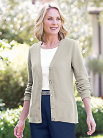 Allover Ottoman-Stitch Cardigan