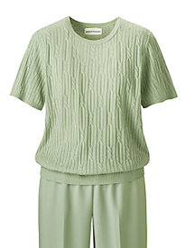 Short-Sleeve Textured Sweater by Alfred Dunner&#174