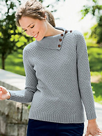 Popcorn-Stitch Split-Neck Pullover