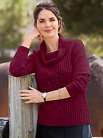 Cabled Cowlneck Pullover