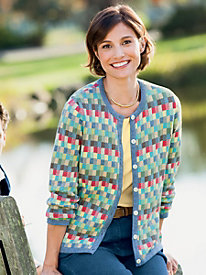 Jacquard Blocks Cardigan