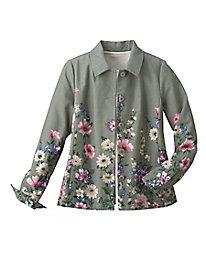 Floral Border-Print Jacket