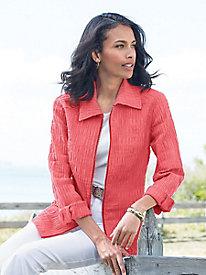 Crinkle-Texture Zip-Front Jacket