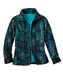 Layered Tile-Print Quilted Jacket