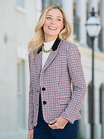 Velvet-Trim Houndstooth Jacket