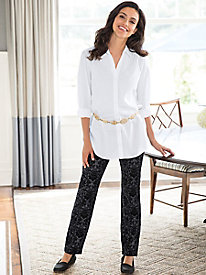 Flocked Ponte Slim-Leg Pants