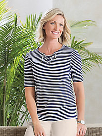 Koret® Elbow-Sleeve Lace-Up Tee