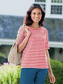 Essential Stripe Elbow-Sleeve Tee