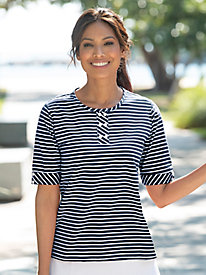 Mini Statement-Stripe Six-Button Henley