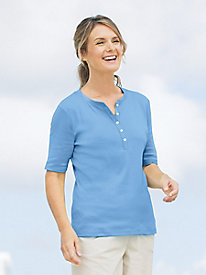 Ribbed Elbow-Sleeve Henley