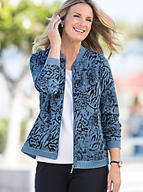 Printed Knit Denim Zip Jacket