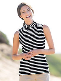 Striped Sleeveless Mockneck