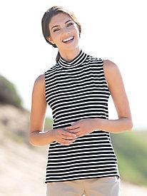 Striped Sleeveless Mockneck