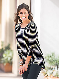 Elliptical-Hem Stripe Tunic