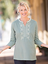 Embroidered Split-Neck Tunic