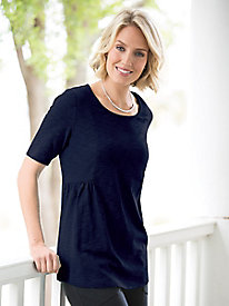 Seamed Textured-Knit Tunic