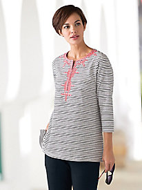 Embroidered Striped Knit Tunic
