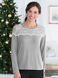 Delicate Lace-Yoke Top