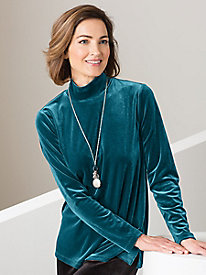 Stretch Velvet Long-Sleeved Mockneck
