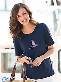 Embroidered Sailboat Tee