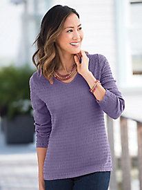 Long-Sleeve V-Neck Crinkle-Knit Tee