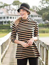 Statement Stripe Button-Neck Tunic