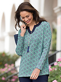 Knit Tile-Print Tunic...