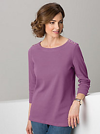 Button Shoulder Solid Tee
