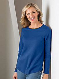 Pima Cotton Curved-Hem Tee by Koret