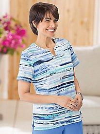 Watercolor Stripe Tee by Alfred Dunner