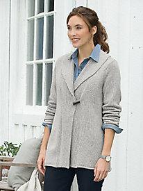 Wrap-Look Toggle Sweater