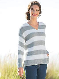 Twist-Yarn Ruby Stripe Pullover