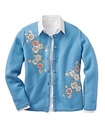 Asian Blossom Boiled-Wool Jacket