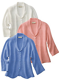 Lattice-Stitch Cotton Cardigan
