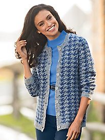 Houndstooth Boucle Cardigan