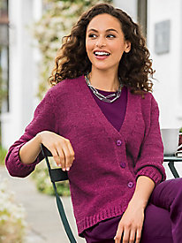 Twist-Yarn V-Neck Cardigan