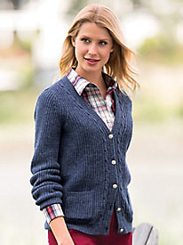 Cabled Wool V-Neck Cardigan