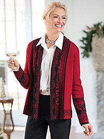 Jacquard Open Front Cardigan