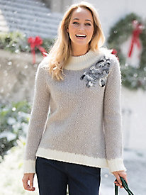 Embroidered Mockneck Sweater