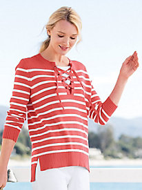 Stripe Lace-Up Sweater