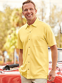 Scandia Woods Button-Front Pique Polo