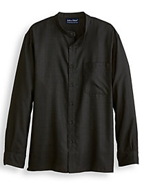 John Blair Banded Collar Linen-Look Shirt