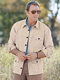 1930s Style Mens Shirts Linen-Look Overshirt $44.99 AT vintagedancer.com